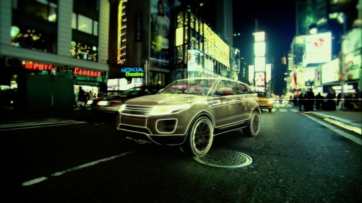 Range Rover Evoque on the Street at Night